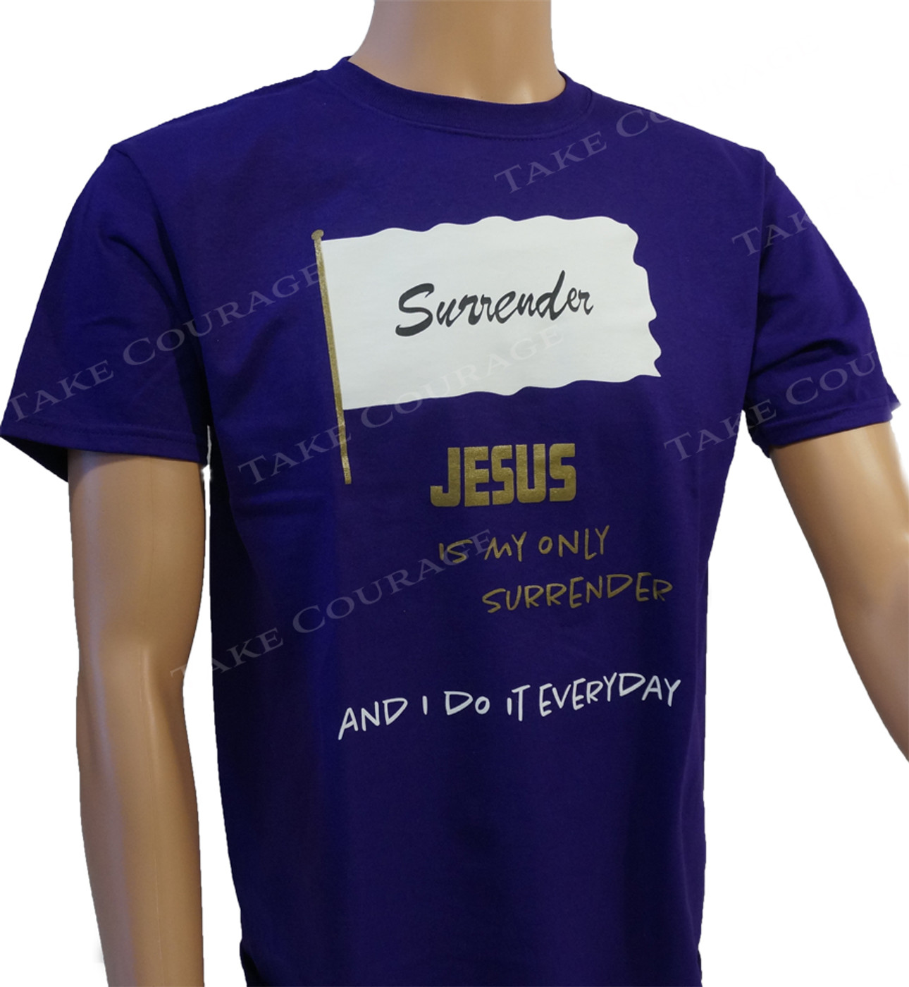 Surrender - Christian Shirt - Purple&Gold