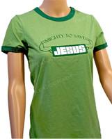 Jesus Muscle - Christian Shirt - Green ringer