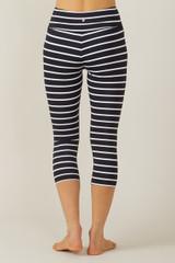 Cropped High Waist Stripe Yoga Leggings back view