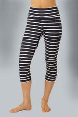 High Waist Black and White Striped Yoga Capri front view