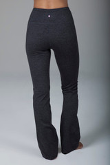 Compressive Grey High Waist Bootcut Yoga Pants back view