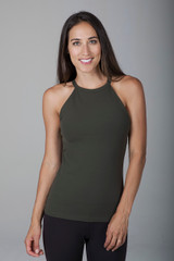 Forest Green Halter Tank Activewear front view