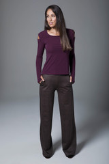 Plaid Wide Leg Pant and Long Sleeve Yoga Outfit