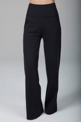 High-Rise Wide-Leg Flare Pants in Black front view