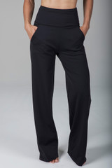 Black Loose Fitting Pocketed Yoga Pants with Thick Waist Band