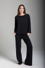 Black Terry Yoga Sweatpants and Sweatshirt Outfit