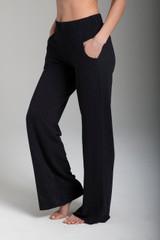 Wide-Leg Terry Yoga Sweatpant in Black