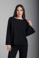 French Terry Scoop Neckline Sweatshirt in Black front view