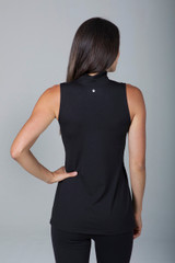 Long Slimming Yoga Tie Waist Tunic in Black back view
