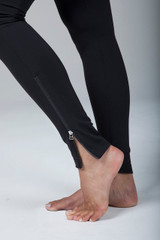 Black Yoga Leggings with Side Zipper Closures