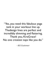 Grace Vinyasa Yoga Racerback Customer Review Quote