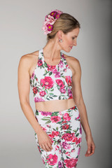 White Floral Crop Tank Top front view