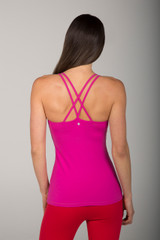 Fuchsia Strappy Criss Cross Back Yoga Tank Top