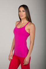 Hot Pink Double-Strap Yoga Cami Tank