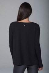 Activewear Long Sleeve Top in Black back view