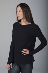 Black Long Sleeve Workout Shirt with Scoop Neckline