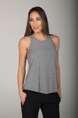Soft and Comfortable Yoga Tank in Heather Grey front view