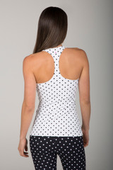 White and Black Polka Dot Racerback back view