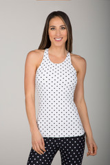 Black and White Dot Print Tank Top front view