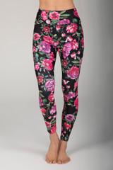 Pink & Black Floral High Waist Yoga Pants