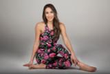 Spring Floral Print Yoga Pants and Crop Top Set