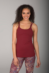 Deep Earthy Red Spaghetti Strap Tank Top front view
