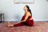 High Waist Yoga Pant and Bra in Clay yoga pose Elena Brower