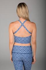 Criss Cross Back Halter Crop Top in Blue Print