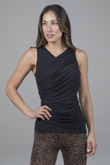 Black Ruched Sleeveless Top front view