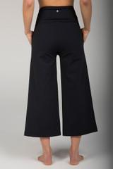 Wide Leg Cropped Black Yoga Pants back view