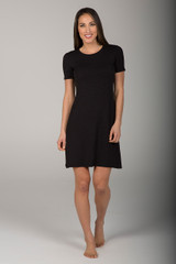 Casual T-Shirt Yoga Dress in Black front view