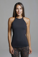 Black Long Halter Yoga Tank Top