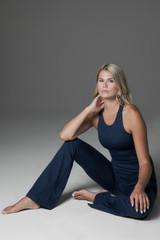 Grace Vinyasa Yoga Racerback (Iris Heather) lifestyle cozy wear