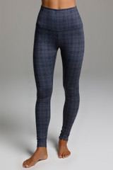 High Rise Yoga Tights in Navy Plaid Pattern front view