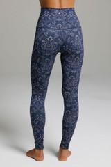 Long High Waisted Blue Yoga Leggings back view