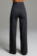 High Waist Wide Leg Pant (Charcoal Grey) back view