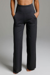 High Waist Wide Leg Pant (Charcoal Grey) front view pockets