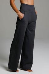 High Waist Wide Leg Pant (Charcoal Grey) side view pockets