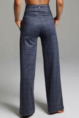 High Waist Wide Leg Pant (Navy Glen Plaid) back view pockets