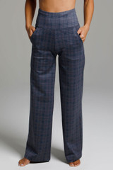 High Waist Wide Leg Pant (Navy Glen Plaid) front view pockets