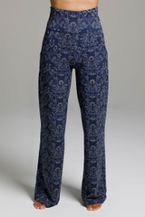 High Rise Loose Fitting Yoga Pants Navy Paisley Pattern front view