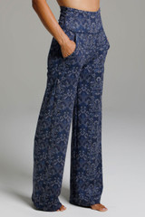 Wide Leg Pocketed Yoga Pants in Navy Blue Medallion Print