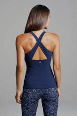 Horizon Yoga Tank navy strappy back design