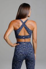 Open Back Cross Back Yoga Bra in Blue Print back view