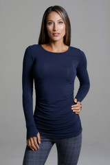 Scoop Neck Long Sleeve Yoga Shirt front view