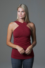 Glamour Goddess Luxe Halter (Sienna) front support yoga tank top