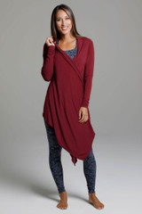 Knit Yoga Wrap (Sienna) front view swingy wrapped cardigan