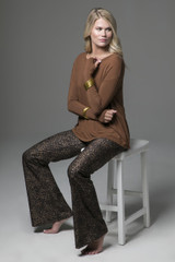 Bronze Perfect Longsleeve Tee with Leopard Flare Pant