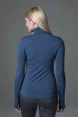 Ultra Soft Long Sleeve Yoga Turtleneck (Oceana) back view