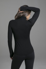 Black Long Sleeve Yoga Turtleneck back view